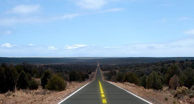 carretera de paneles solares